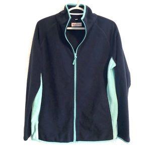 ❤️3/$30 Cozy teal and navy full zip fleece. Size L
